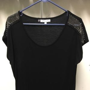 Black Short Sleeve Shirt with Gold Bead Detail
